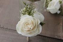 wedding photo - Groom Boutonniere, Ivory Sola Flower Boutonniere, Ivory Wedding Boutonniere, Chic Flower Boutonniere, Dried Flower Boutonniere, Sola Flowers
