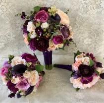 wedding photo - Wedding bouquet,plum purple bridal bouquet,silk wedding flowers,purple bridal flowers,wedding accessory,blush bridal bouquet,vintage wedding