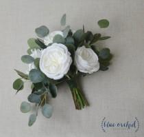 wedding photo - wedding bouquet, eucalyptus bouquet, peony bouquet, cabbage rose bouquet, silk bouquet, bridal bouquet, wedding flowers, white, green