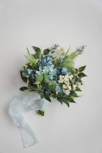 wedding photo - READY TO SHIP, wildflower bouquet, hydrangea lavender bouquet, wedding bouquet, bridal bouquet, wedding flowers, boho bouquet, blue, green