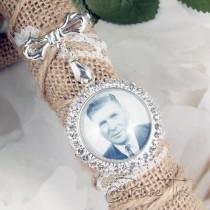 wedding photo - Custom Bouquet Charm, Wedding Bouquet Charm, Bouquet brooch, Diamante Photo Charm, Custom Photo Charm, Memorial Photo Charm, Bridal Bouquet.