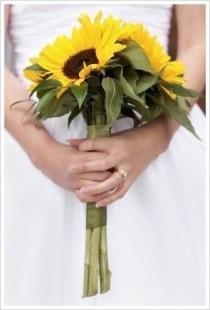 wedding photo - Sunflower bridesmaid bouquet