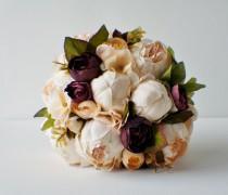 wedding photo - Peony Bridal Bouquet, Silk Wedding Flowers, Champagne Wedding Flowers, Vintage Wedding, Rustic Wedding Shabby Chic Wedding, Bride Bridesmade