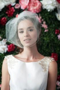 wedding photo - birdcage veil double layer tulle and netting blusher veil tulle & russian netting veil 2 layer veil bridal double birdcage veil ~ LOUISE