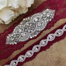 wedding photo - Burgundy Red Wedding Garter Set NO SLIP grip vintage rhinestones