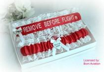 wedding photo - Pilot Garter Set - Remove Before Flight® Garters - Pilot Wedding Garters - Fun Wedding Garter set - Air Force Garters  - Bridal Shower Gift.