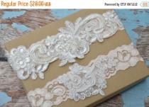 wedding photo - ON SALE Bridal Garter, Blush Wedding Garter Set, Stretch Lace Garter, Blush Alencon Lace Garter,Garter, Nicole Style 10335