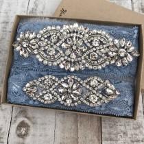 wedding photo - Wedding Garter, NO SLIP Lace Wedding Garter Set, bridal garter set, vintage rhinestones, pearl and rhinestone garter set