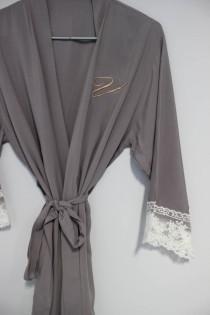 wedding photo - Bridal robe grey, Bridal robes grey, long robe bridesmaid , long robes for bride, long robe grey, bridesmaid gift idea for cheap, long robe