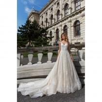 wedding photo - Corona Borealis 2018 Sofie Lace Open V Back Royal Train Sweet Embroidery Champagne Aline Spaghetti Straps Wedding Dress - Rolierosie One Wedding Store