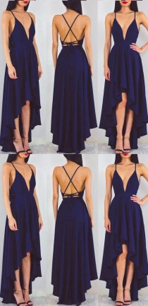 wedding photo - Customized Sleeveless Dresses Long Navy Prom Evening Dresses With Criss Cross Lace Up High-Low Comely Evening Dresses WF02G56-598