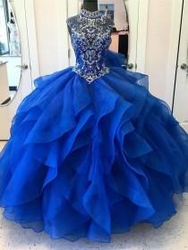 wedding photo - Ball-Gown High-Neck Chapel Train Organza Rhine Stone Prom Dresses 2860