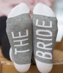 wedding photo - The Bride Socks, Wedding Socks, Bridesmaid on Sole Socks, Maid of Honor Socks, Bridal Socks, Bridal Party Socks, Wedding Party Socks,