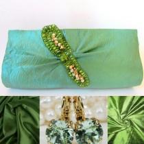 wedding photo - Slim Mint Green Classy Beaded Clutch Purse, Green Designer Clutch, Small Handbag, Green Party Clutch, Bridesmaid Purse, Formal Evening Purse