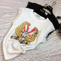 wedding photo - Oversized Printed Sleeveless Satin Eagle Summer Lace Sleeveless Top T-shirt - Lafannie Fashion Shop