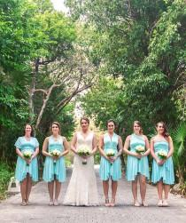 wedding photo - THEDAINTYARD TDY Bridesmaid Short Asymmetrical infinity dress / Multiway Dress / convertible wrap dress (Asymmetrical hem, Regular size)