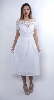 wedding photo - Plus Size Wedding Dress, Cotton Wedding Dress, White Dress, Edwardian Dress, Embroidered Dress, White Lace Dress, Long Dress, Empire Dress