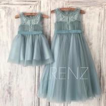 wedding photo - Dusty Blue Tulle Flower Girl Dress,Lace Illusion Neck Puffy Dress Princess Dress,Baby Tutu Dress Party Dress,Junior Bridesmaid Dress(HK198B)