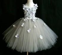 wedding photo - Silver gray hydrangea flower tutu dress/ Flower girl dress/Party dress(Aqua,white,ivory,burgundy,blue,lavender,yellow many colors available)