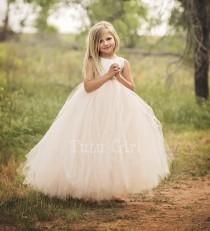 wedding photo - Flower Girl Dress, Blush Flower Girl Dress, Blush and Ivory Flower Girl Dress, Blush Tutu Dress
