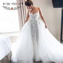 wedding photo - Luxury Strapless Sweetheart Chantilly Lace Mermaid Wedding Dress With Removable Tulle Train