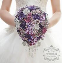 wedding photo - Wedding Bouquet Brooch Bouquet Bridesmaids Bouquet Silver Bridal Bouquet Fuchsia Bouquet Jewelry Bouquet Cascading Bouquet Purple Bouquet