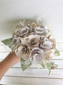 wedding photo - Harry Potter Bouquet, Book Page Bouquet, Book Page Boutonniere, Book Bouquet, Book Flowers, Paper Roses (ITEM: TPG55C)