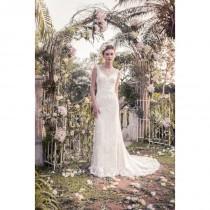 wedding photo - Snow by Annasul Y. 2017 sa3336b Appliques Column Lace Spring Garden V-Neck Sweet Chapel Train Sleeveless Ivory Bridal Dress - Brand Wedding Dresses