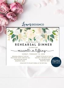 wedding photo - Watercolor Floral Rehearsal Dinner Invitation, Party Invite, Wedding Card, Wedding Dinner, Instant Download Editable Printable pdf jpeg
