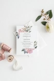 wedding photo - Blush Wedding Invitation, Printable Wedding Invitation, Vintage Floral Wedding Invitation, Wedding Invitation Template, Watercolor Wedding