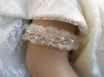 wedding photo - Rose Gold Wedding Garter Set, Rose Gold Bridal Garter Set, Garters for Wedding, Wedding Garter,  Tulle Garter Set,  Free Shipping