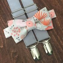 wedding photo - Coral and blush floral Bow Tie and gray Suspender Set for men, boys, toddlers, and babies. Sent 1-3 business days after you order