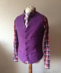 wedding photo - Handmade Purple Waistcoat - Harris Tweed Waistcoat - Wool Wedding Vest - Groomsman Vest Best MEN - Formal Tweed Waistcoat - Purple Wool Vest