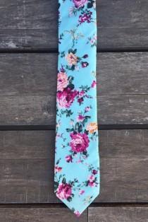 wedding photo - Blue Floral skinny tie