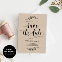 wedding photo - Printable Save The Date Template - Rustic Wedding Save The Date Card - Instant Download - Rustic Elegance #REC