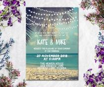 wedding photo - Digital Printable Files - Beach and Sea Wedding Invitation RSVP Thank You Invitation Set Wedding Stationery - ID615