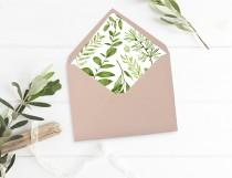 wedding photo - Printable Greenery Envelope Liner, Leaves Envelope Liner, Botanical Envelope Liner, Watercolor Foliage Liner, Download 105-A 126-W 035-W