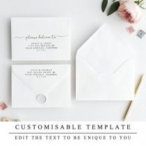 wedding photo - Print At Home Modern Calligraphy Envelope Template, Elegant Editable DIY Wedding Envelope, A7 A6 A2 Custom Address The One INSTANT DOWNLOAD