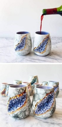 wedding photo - Glistening Geode Mugs Embedded With Clusters Of Lifelike Crystals