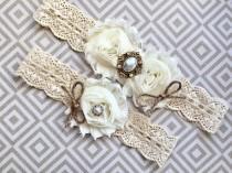 wedding photo - Rustic wedding garter, rustic garter set - wedding garter, bridal garter - burlap and lace, vintage rustic garter