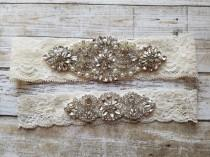 wedding photo - SALE - Wedding Garter Set - Pearl and Rhinestone Garter Set on a Ivory Lace Garter Set with Pearl & Rhinestone - Style G23302
