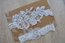 wedding photo - Off White Garter, Wedding Garter, Bridal Garter Set, Garter Set, Wedding Lingerie, Lace Garter, Wedding Gift, Garter Bridal White, Garters