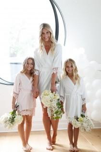wedding photo - Flower Girl Robe // Bridal Robe // Bride Robe // Bridal Party Robes // Bridesmaid Gift // Silky Robe // Satin Robe // Robe // Lauren