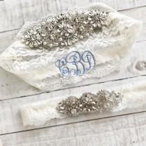 wedding photo - Monogram Wedding garter, embroidered bridal garter, something blue, custom wedding garters AO1S-AO2S