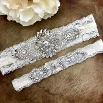 wedding photo - Wedding Garter Set NO SLIP grip vintage rhinestones bridal garter, elegant wedding garter set B04S-CB12S