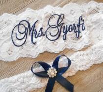 wedding photo - MONOGRAMMED Wedding Garter MANY COLORS  Bridal Garter Floral Stretch Lace Bridal Garter Single Garter