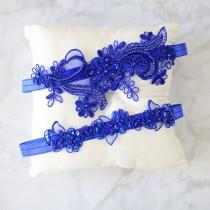 wedding photo - Royal Blue Beaded Lace Garter Set, Bridal Blue Garter, Wedding Blue Garter, Prom Garter Belt, Capri Blue Wedding Garter,Something Blue