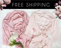 wedding photo - Dusty Pink & Blush Lace Robe (or Mix and Match Colors), Bridesmaid Robes  Set of 1,2,3,4,5,6,7,8,9,10,11,12, Personalized robes with lace