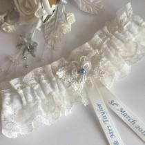 wedding photo - Personalised Wedding Garter, Ivory,  butterfly design, available in S/M & Plus size / Large
