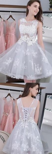 wedding photo - Hot Sale Applique Silver Homecoming Prom Dresses Comely Short Round Sleeveless Lace Up Dresses WF02G58-313